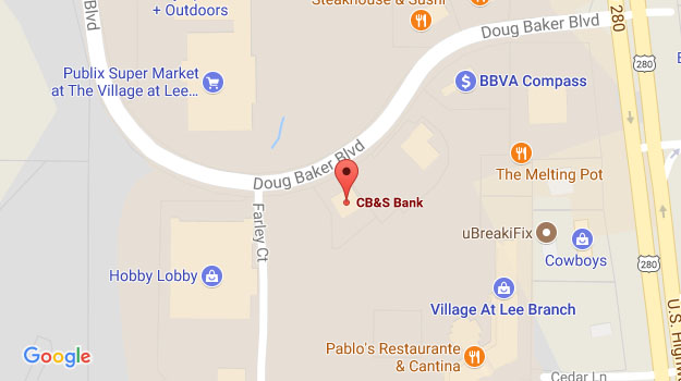 CB&S Bank Location Map in Birmingham, AL