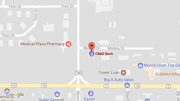 CB&S Bank Location Map in Corinth, MS on Alcorn Drive