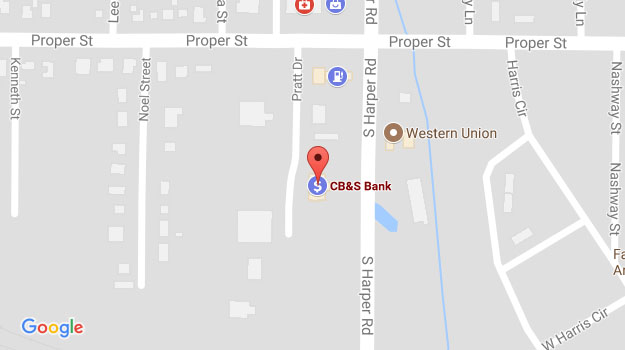 CB&S Bank Location Map in Corinth, MS on Harper Road
