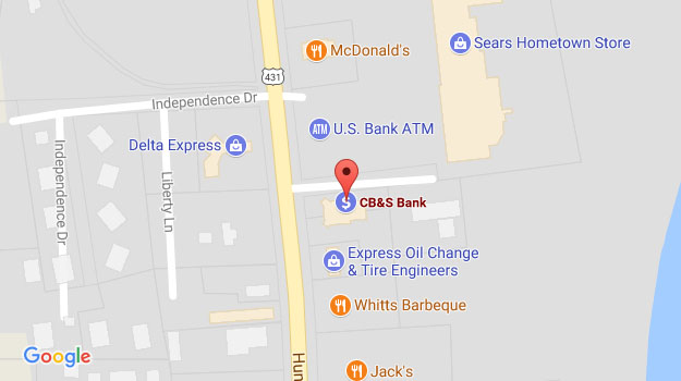 CB&S Bank Location Map in Fayetteville, TN