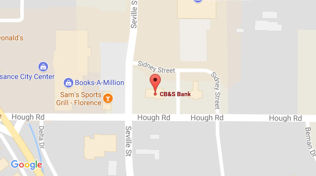 CB&S Bank Location Map in Florence, AL on Hough Road