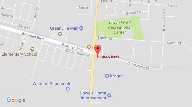 CB&S Bank Location Map in Greenville, MS on Highway 1