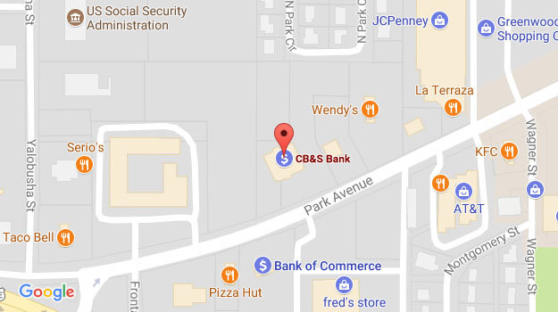 CB&S Bank Location Map in Greenwood, MS on Park Avenue