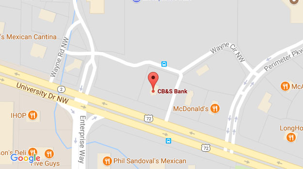 CB&S Bank Location Map in Huntsville, AL in Perimeter Park