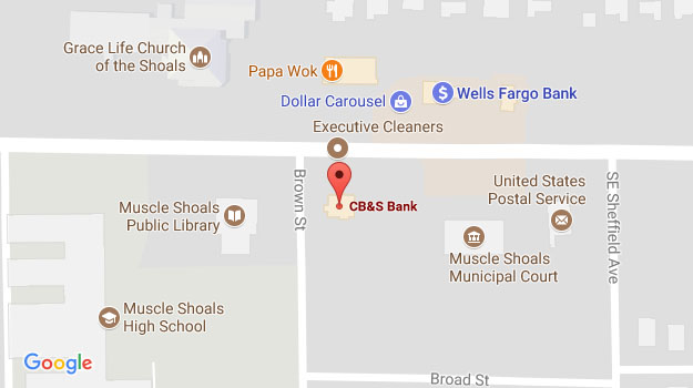 CB&S Bank Location Map in Muscle Shoals, AL