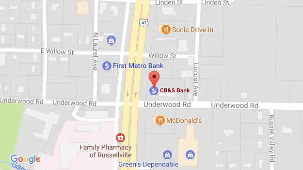 CB&S Bank Location Map in North Russellville, AL