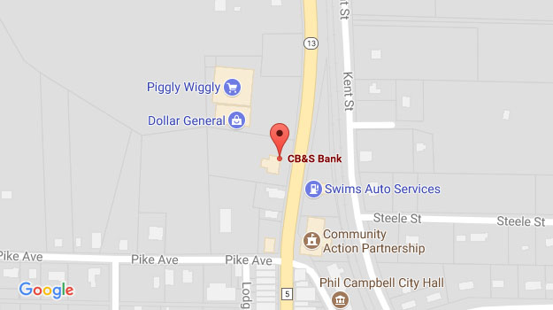 CB&S Bank Location Map in Phil Campbell, AL