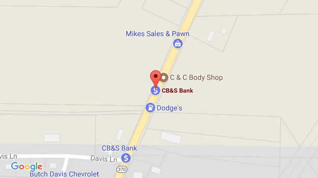 CB&S Bank Location Map in Ripley, MS