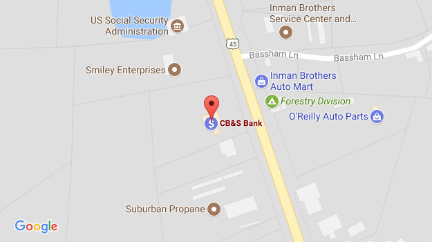 CB&S Bank Location Map in Selmer, TN on Mulberry Avenue