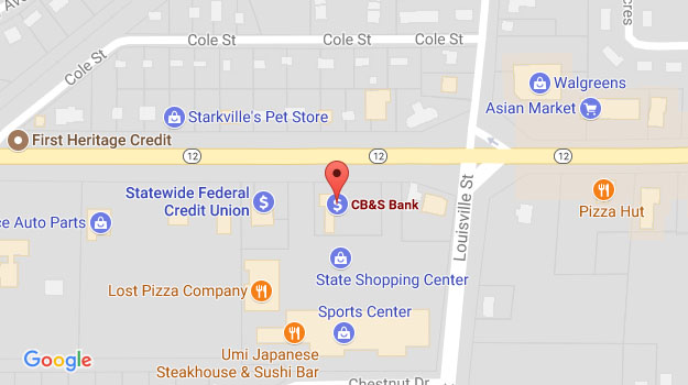 CB&S Bank Location Map in Starkville, MS