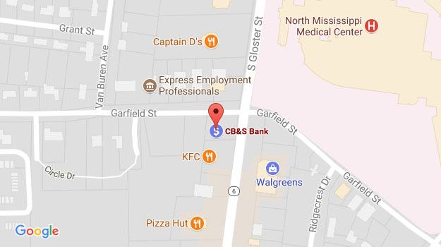 CB&S Bank Location Map in Tupelo, MS on Gloster Street