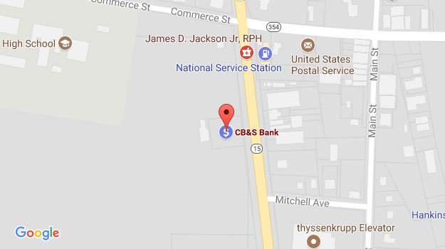 CB&S Bank Location Map in Walnut, MS