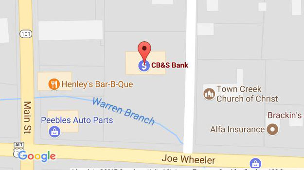 CB&S Bank Location Map in Town Creek, AL