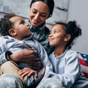 Military mother with children